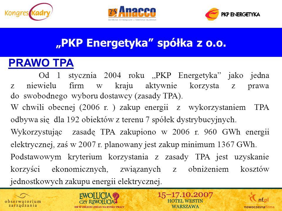 PKP Energetyka spółka z o.o. PRAWO TPA Od 1 stycznia 2004 roku PKP Energetyka jako jedna z niewielu firm w kraju aktywnie korzysta z prawa do swobodne