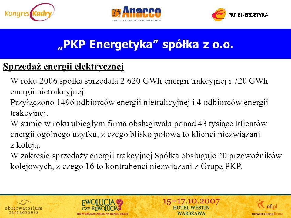 PKP Energetyka spółka z o.o. Sprzedaż energii elektrycznej W roku 2006 spółka sprzedała 2 620 GWh energii trakcyjnej i 720 GWh energii nietrakcyjnej.
