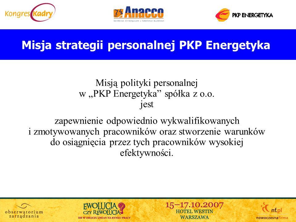 Misja strategii personalnej PKP Energetyka Misją polityki personalnej w PKP Energetyka spółka z o.o. jest zapewnienie odpowiednio wykwalifikowanych i
