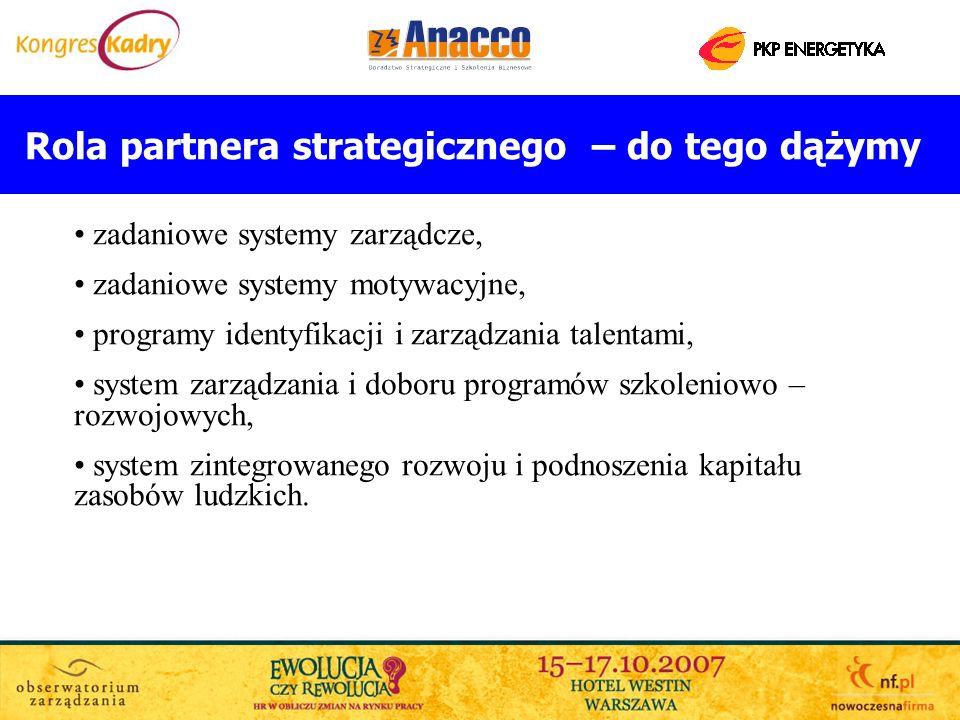 Rola partnera strategicznego – do tego dążymy zadaniowe systemy zarządcze, zadaniowe systemy motywacyjne, programy identyfikacji i zarządzania talenta