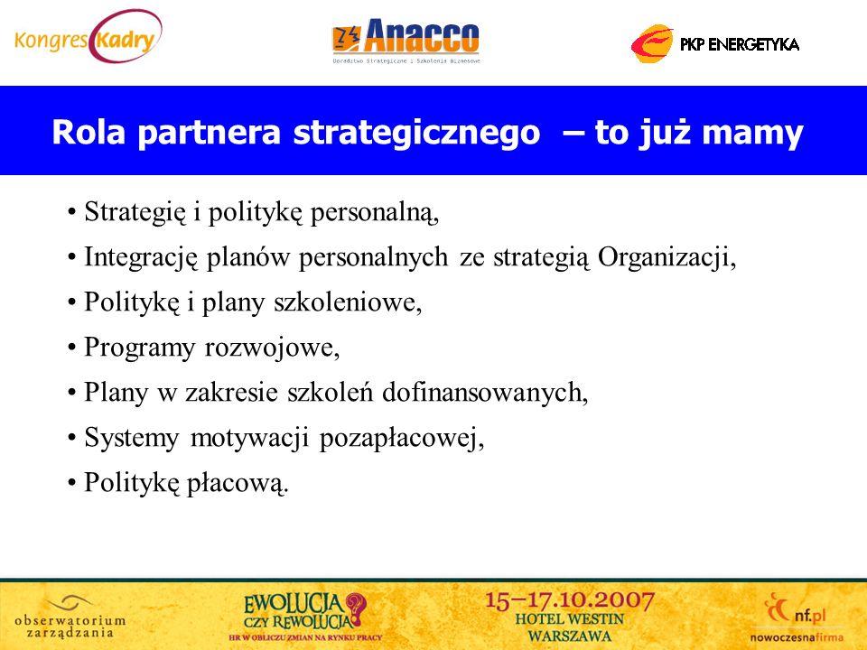 Rola partnera strategicznego – to już mamy Strategię i politykę personalną, Integrację planów personalnych ze strategią Organizacji, Politykę i plany