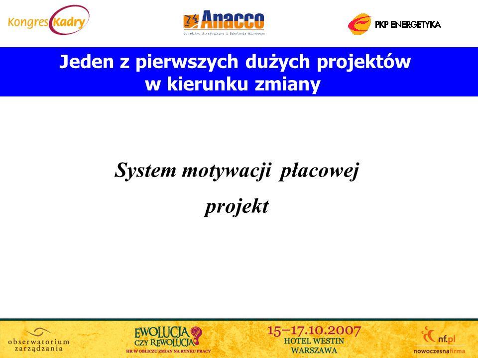 Jeden z pierwszych dużych projektów w kierunku zmiany System motywacji płacowej projekt