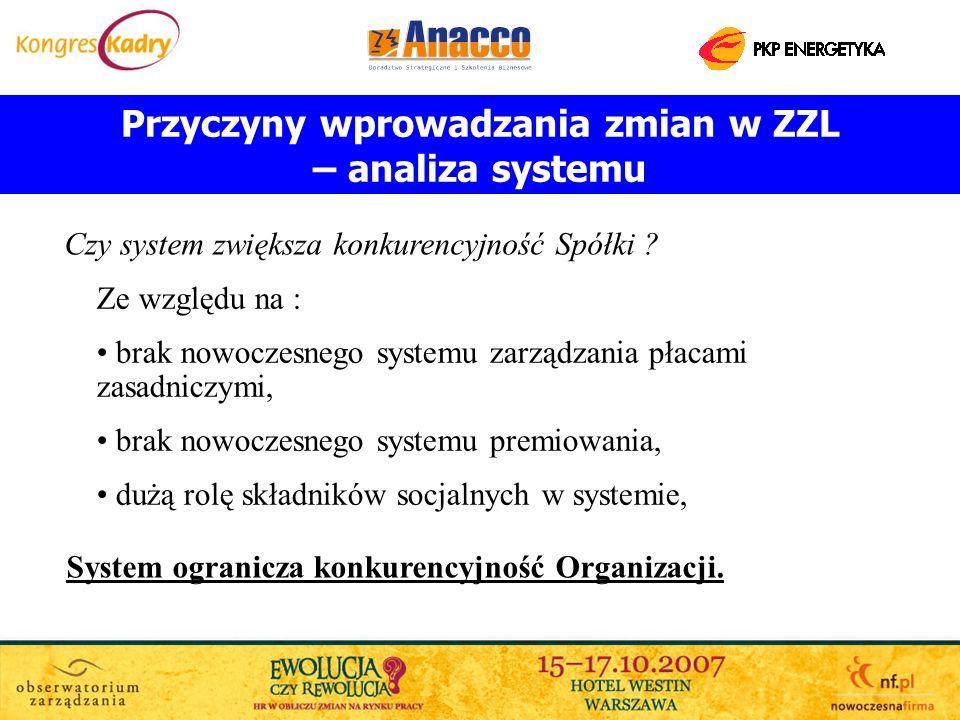 Przyczyny wprowadzania zmian w ZZL – analiza systemu Ze względu na : brak nowoczesnego systemu zarządzania płacami zasadniczymi, brak nowoczesnego sys