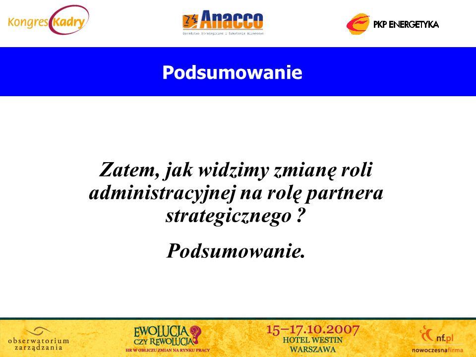 Podsumowanie Zatem, jak widzimy zmianę roli administracyjnej na rolę partnera strategicznego ? Podsumowanie.