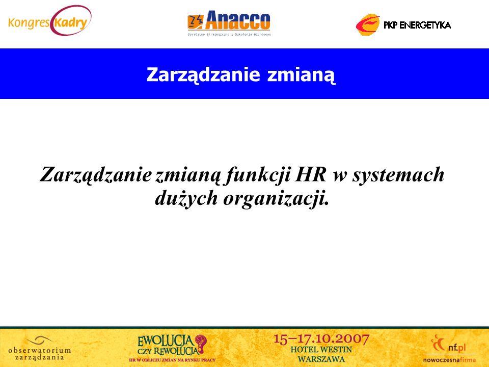 Zarządzanie zmianą Zarządzanie zmianą funkcji HR w systemach dużych organizacji.