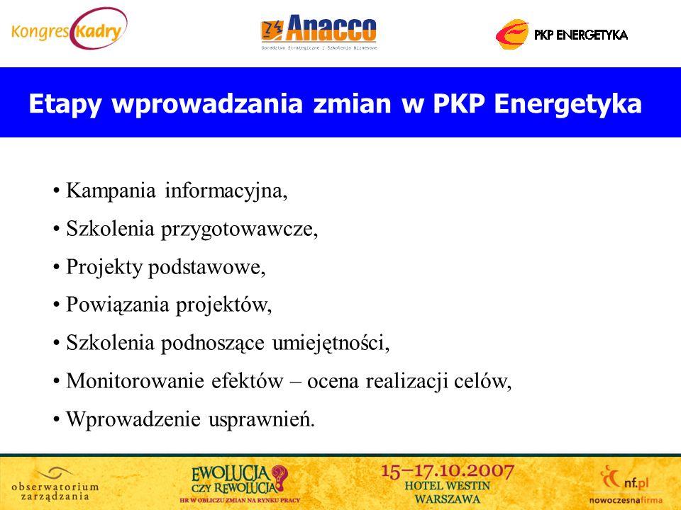 Etapy wprowadzania zmian w PKP Energetyka Kampania informacyjna, Szkolenia przygotowawcze, Projekty podstawowe, Powiązania projektów, Szkolenia podnos