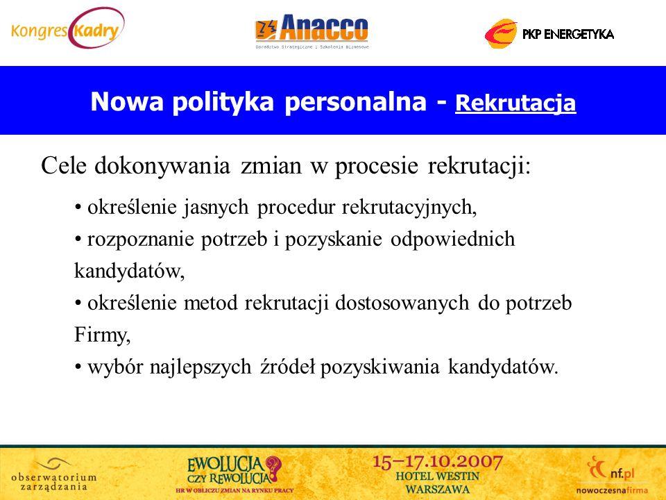 Nowa polityka personalna - Rekrutacja Cele dokonywania zmian w procesie rekrutacji: określenie jasnych procedur rekrutacyjnych, rozpoznanie potrzeb i