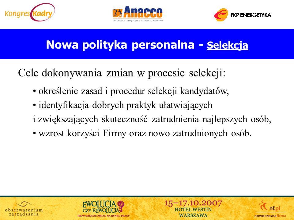 Nowa polityka personalna - Selekcja Cele dokonywania zmian w procesie selekcji: określenie zasad i procedur selekcji kandydatów, identyfikacja dobrych