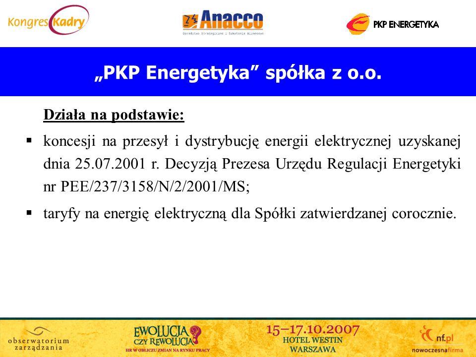 PKP Energetyka spółka z o.o. Działa na podstawie: koncesji na przesył i dystrybucję energii elektrycznej uzyskanej dnia 25.07.2001 r. Decyzją Prezesa