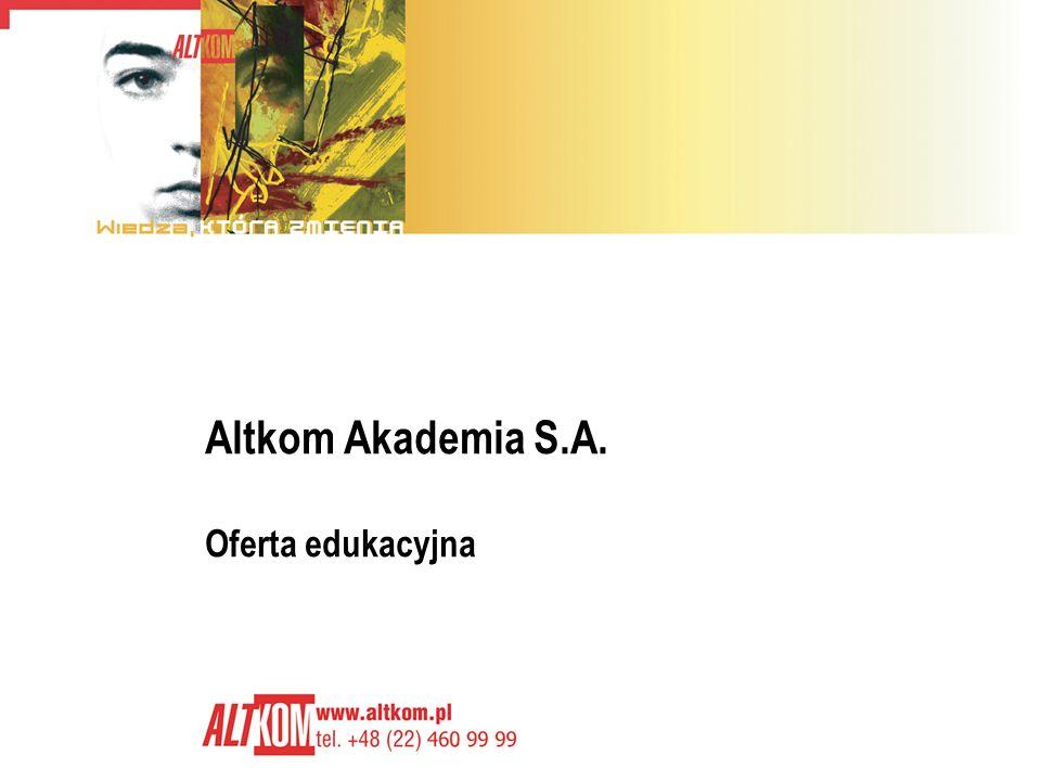 2 O firmie Altkom Akademia istnieje od 1992 roku Główny zakres usług obejmuje: Usługi edukacyjne - największe i najbardziej zaawansowane technologicznie centrum edukacyjne w kraju Usługi projektowo-programistyczne – konsulting i tworzenie oprogramowania na zamówienie Usługi integratorskie – tworzenie i utrzymywanie optymalnego środowiska IT w firmie