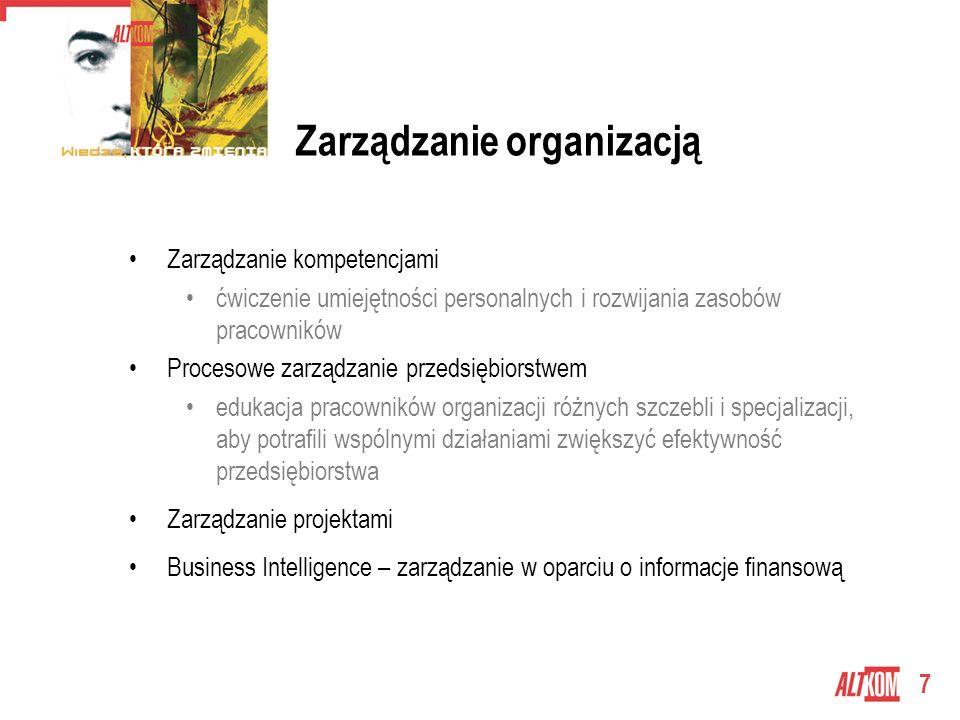 7 Zarządzanie organizacją Zarządzanie kompetencjami ćwiczenie umiejętności personalnych i rozwijania zasobów pracowników Procesowe zarządzanie przedsiębiorstwem edukacja pracowników organizacji różnych szczebli i specjalizacji, aby potrafili wspólnymi działaniami zwiększyć efektywność przedsiębiorstwa Zarządzanie projektami Business Intelligence – zarządzanie w oparciu o informacje finansową