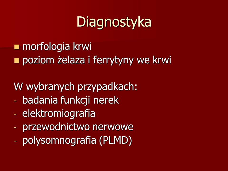 Diagnostyka morfologia krwi morfologia krwi poziom żelaza i ferrytyny we krwi poziom żelaza i ferrytyny we krwi W wybranych przypadkach: - badania fun