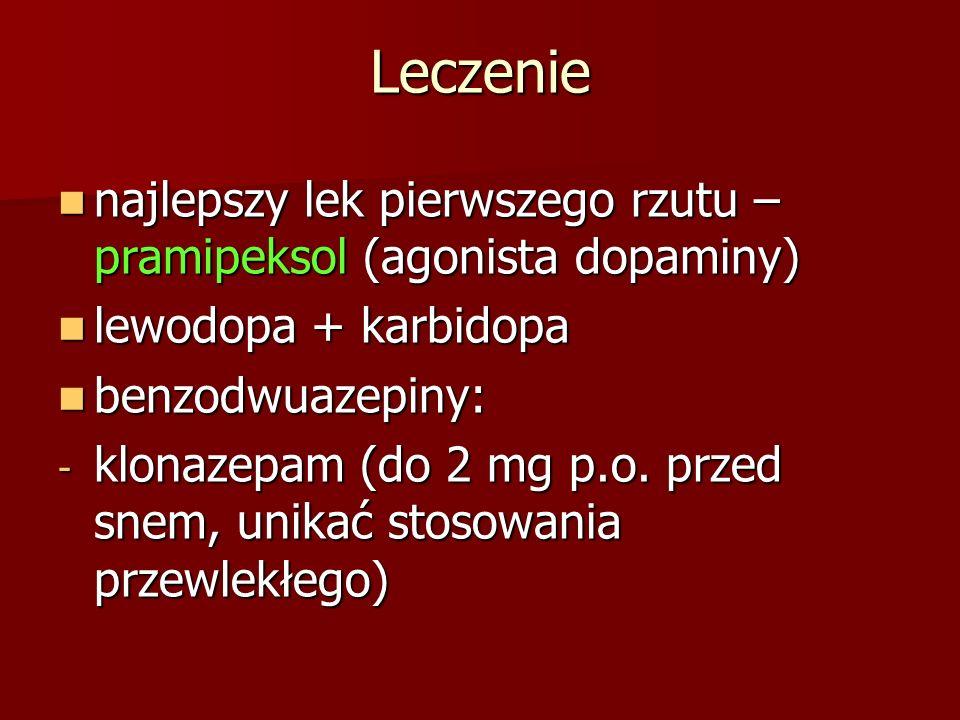Leczenie najlepszy lek pierwszego rzutu – pramipeksol (agonista dopaminy) najlepszy lek pierwszego rzutu – pramipeksol (agonista dopaminy) lewodopa +