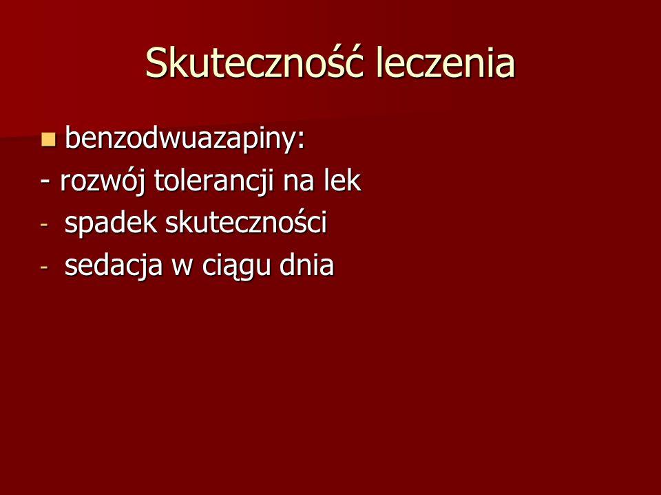 Skuteczność leczenia benzodwuazapiny: benzodwuazapiny: - rozwój tolerancji na lek - spadek skuteczności - sedacja w ciągu dnia