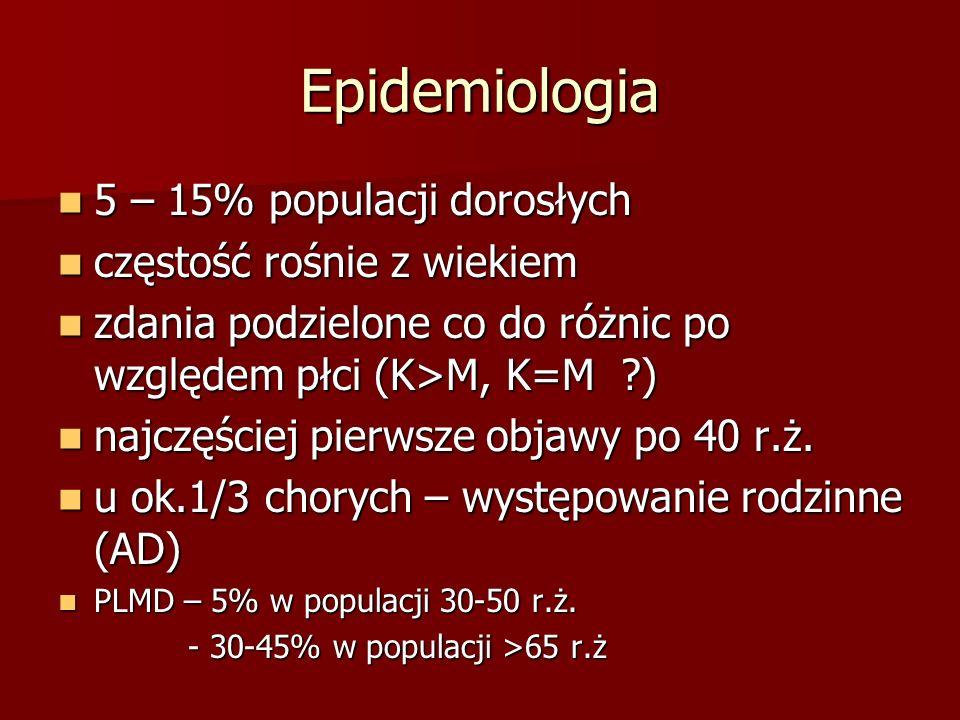 Epidemiologia 5 – 15% populacji dorosłych 5 – 15% populacji dorosłych częstość rośnie z wiekiem częstość rośnie z wiekiem zdania podzielone co do różn