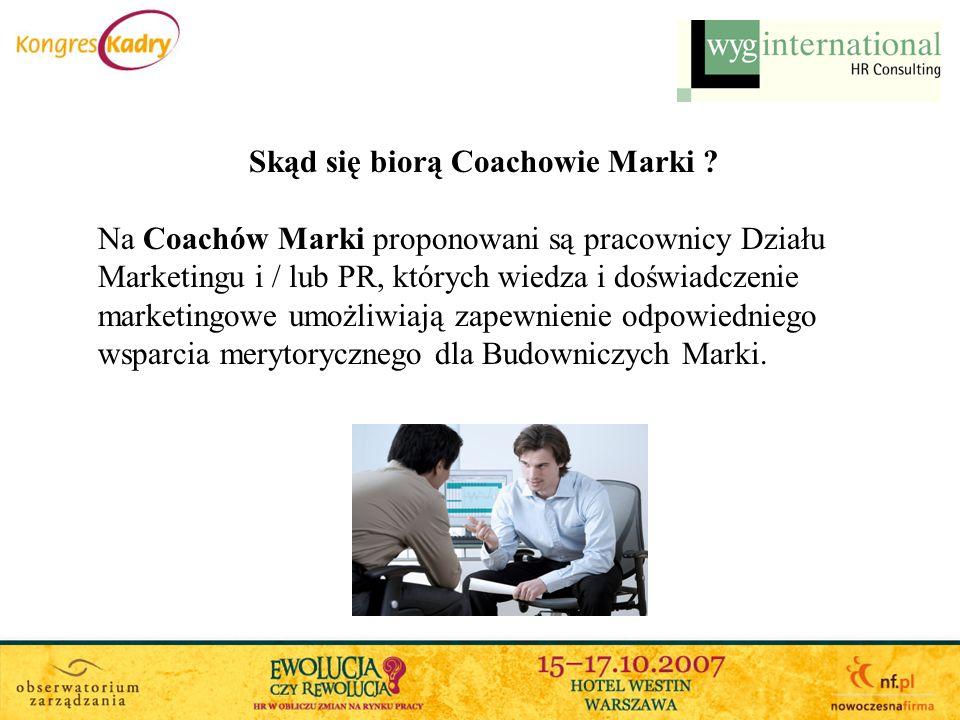 Skąd się biorą Coachowie Marki ? Na Coachów Marki proponowani są pracownicy Działu Marketingu i / lub PR, których wiedza i doświadczenie marketingowe