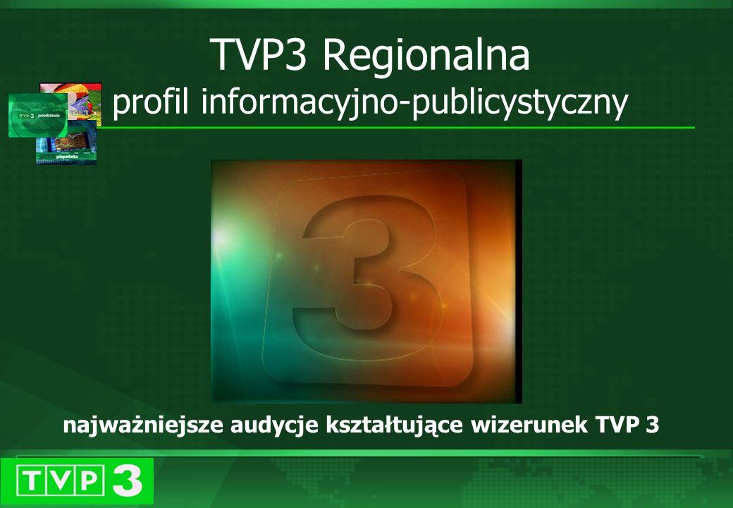 Programy informacyjne TVP 3 Pasmo ogólnopolskie TVP3: KURIER – program informacyjny stanowiący podstawę ramówki TVP 3; nadawany co godzinę; 15 wydań dziennie - także w wersji graficznej Wydania tematyczne: Kurier Kulturalny, Kurier Gospodarczy, Kurier Sportowy Prognoza pogody – bieżące informacje na temat pogody prezentowane są co godzinę po każdym wydaniu KURIERA Najważniejsze audycje kształtujące wizerunek TVP 3