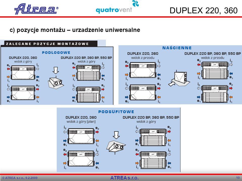 © ATREA s.r.o., 9.2.2009 10 ATREA s.r.o. DUPLEX 220, 360 c) pozycje montażu – urzadzenie uniwersalne