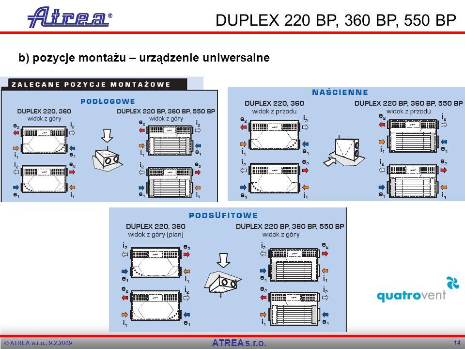 © ATREA s.r.o., 9.2.2009 14 ATREA s.r.o. DUPLEX 220 BP, 360 BP, 550 BP b) pozycje montażu – urządzenie uniwersalne