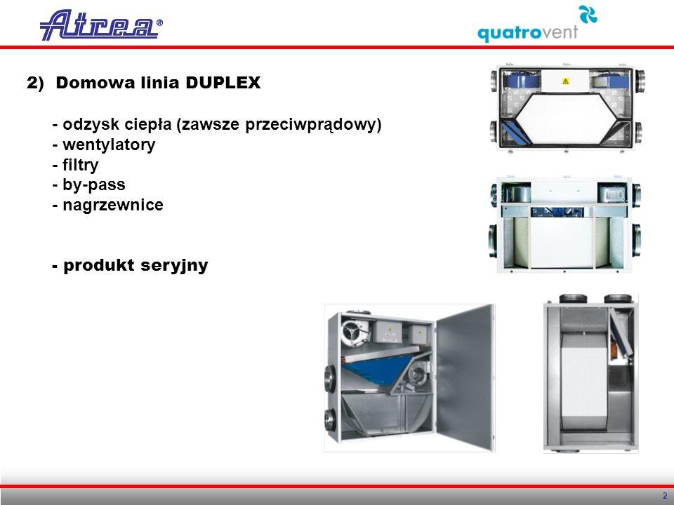 2 2) Domowa linia DUPLEX - odzysk ciepła (zawsze przeciwprądowy) - wentylatory - filtry - by-pass - nagrzewnice - produkt seryjny