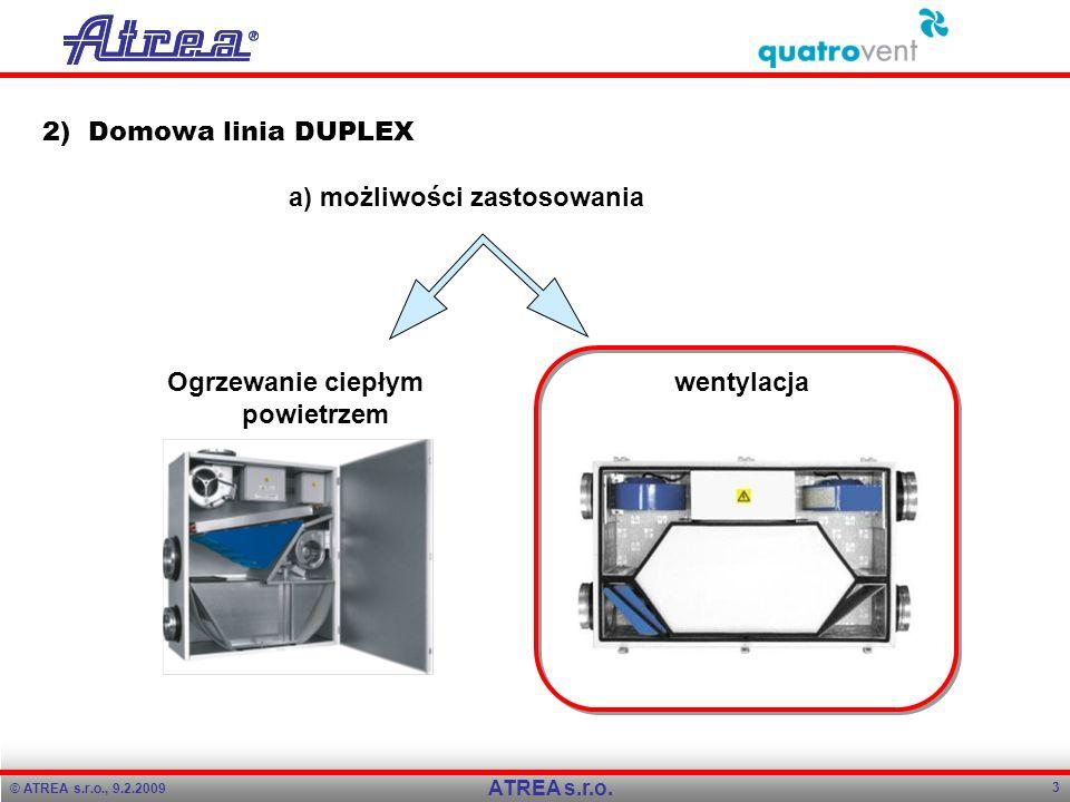 © ATREA s.r.o., 9.2.2009 3 ATREA s.r.o. 2) Domowa linia DUPLEX a) możliwości zastosowania Ogrzewanie ciepłym powietrzem wentylacja