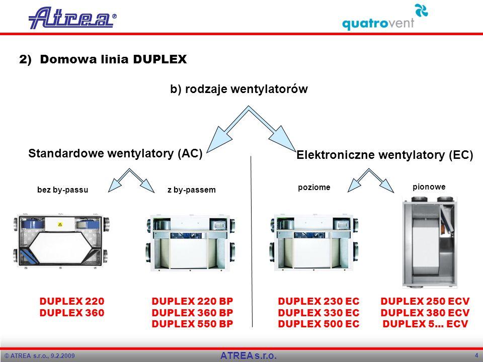 © ATREA s.r.o., 9.2.2009 4 ATREA s.r.o. 2) Domowa linia DUPLEX b) rodzaje wentylatorów Standardowe wentylatory (AC) Elektroniczne wentylatory (EC) DUP