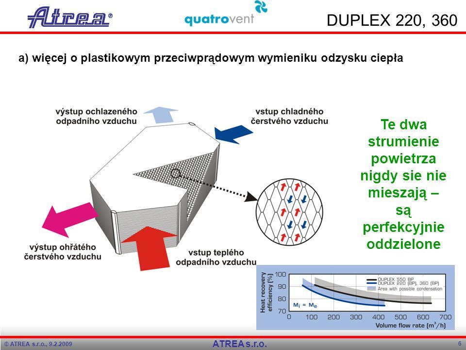 © ATREA s.r.o., 9.2.2009 6 ATREA s.r.o. DUPLEX 220, 360 a) więcej o plastikowym przeciwprądowym wymieniku odzysku ciepła Te dwa strumienie powietrza n