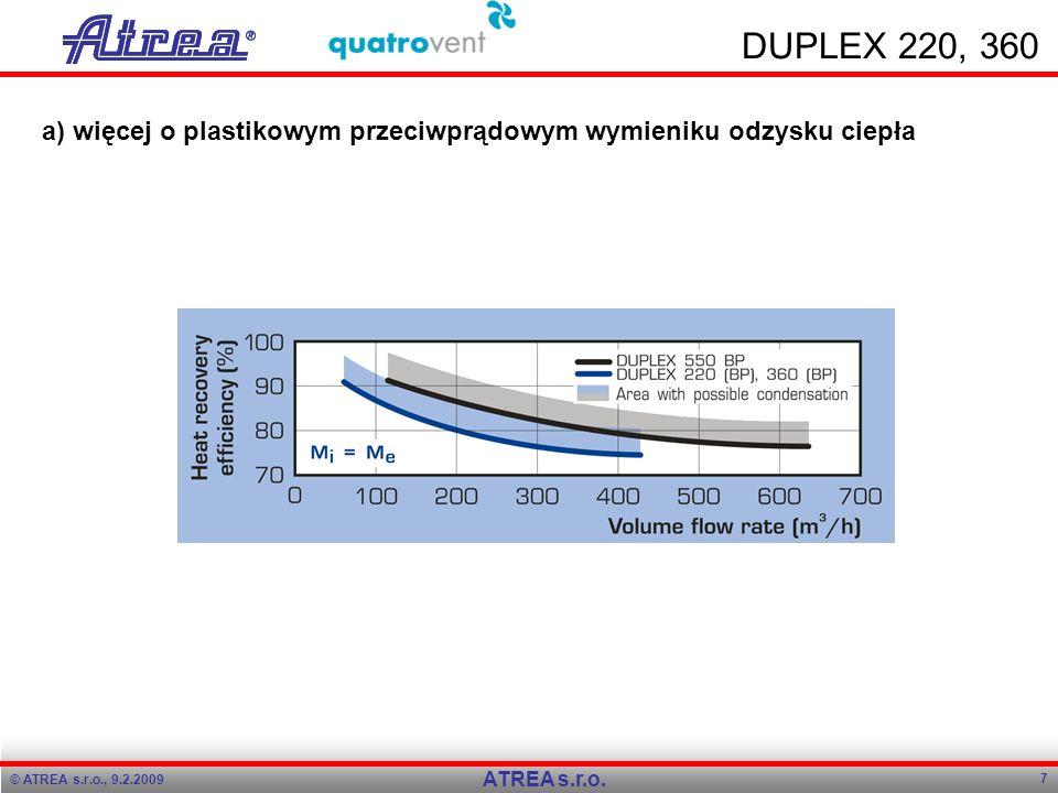 © ATREA s.r.o., 9.2.2009 7 ATREA s.r.o. DUPLEX 220, 360 a) więcej o plastikowym przeciwprądowym wymieniku odzysku ciepła