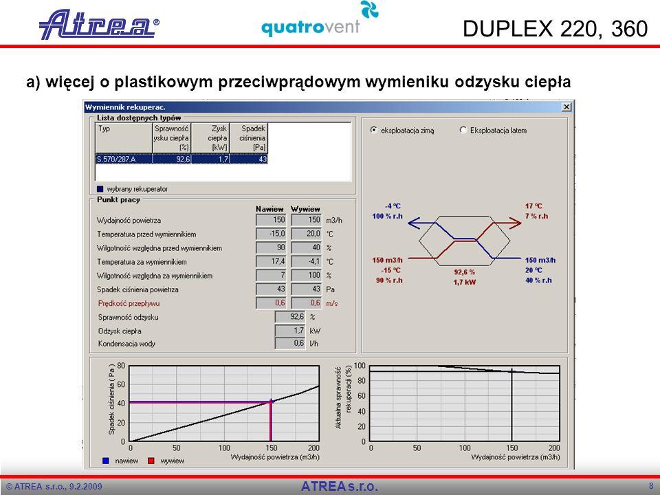 © ATREA s.r.o., 9.2.2009 8 ATREA s.r.o. DUPLEX 220, 360 a) więcej o plastikowym przeciwprądowym wymieniku odzysku ciepła
