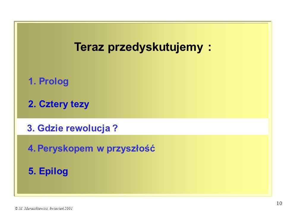 © M. Muraszkiewicz, kwiecień 2001 10 1. Prolog 2. Cztery tezy 4. Peryskopem w przyszłość 5. Epilog 3. Gdzie rewolucja ? Teraz przedyskutujemy :