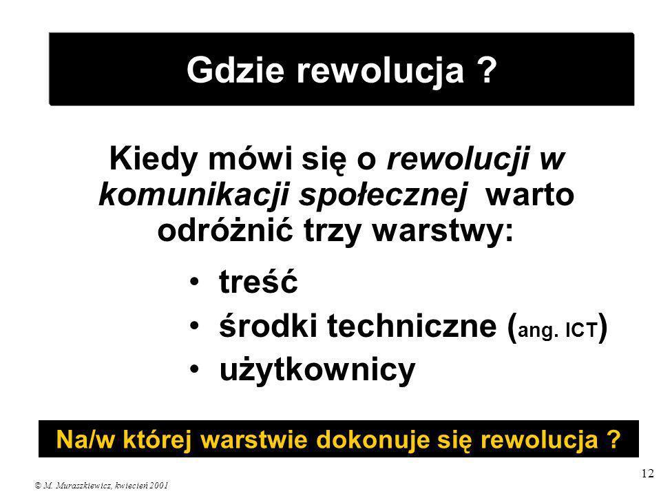© M. Muraszkiewicz, kwiecień 2001 12 Gdzie rewolucja ? Kiedy mówi się o rewolucji w komunikacji społecznej warto odróżnić trzy warstwy: treść środki t