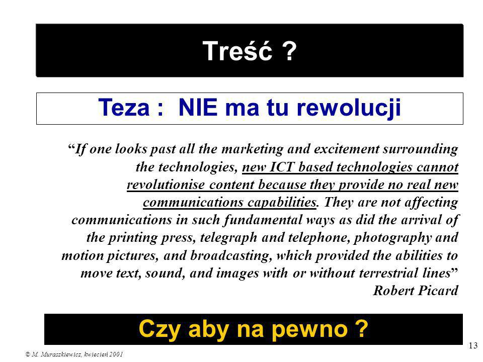 © M. Muraszkiewicz, kwiecień 2001 13 Treść ? Teza : NIE ma tu rewolucji If one looks past all the marketing and excitement surrounding the technologie