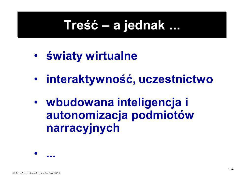 © M. Muraszkiewicz, kwiecień 2001 14 Treść – a jednak... światy wirtualne interaktywność, uczestnictwo wbudowana inteligencja i autonomizacja podmiotó