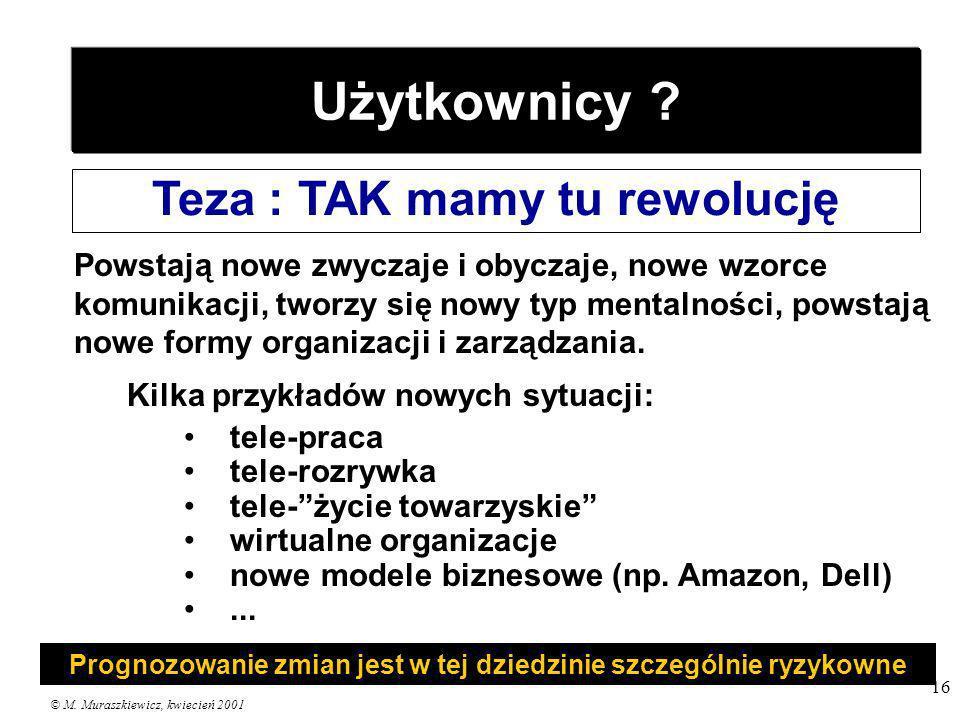 © M. Muraszkiewicz, kwiecień 2001 16 Użytkownicy ? Teza : TAK mamy tu rewolucję Powstają nowe zwyczaje i obyczaje, nowe wzorce komunikacji, tworzy się