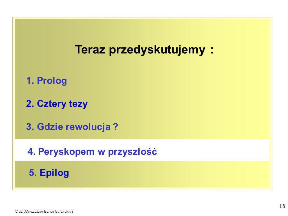 © M. Muraszkiewicz, kwiecień 2001 18 1. Prolog 2. Cztery tezy 3. Gdzie rewolucja ? 5. Epilog 4. Peryskopem w przyszłość Teraz przedyskutujemy :