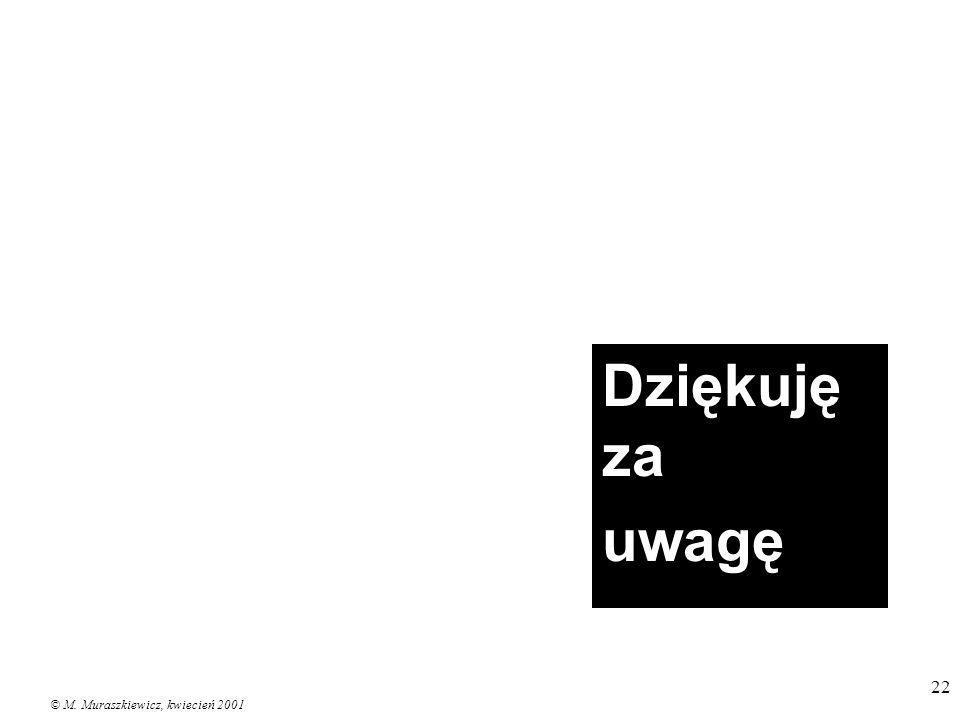 © M. Muraszkiewicz, kwiecień 2001 22 Dziękuję za uwagę