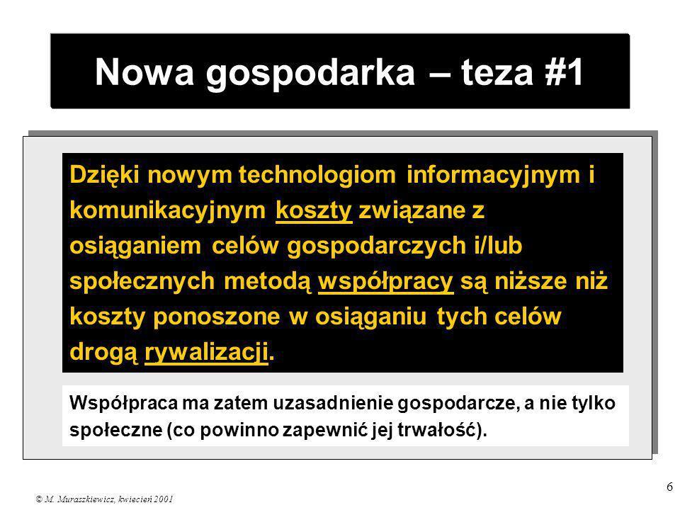 © M. Muraszkiewicz, kwiecień 2001 6 Nowa gospodarka – teza #1 Dzięki nowym technologiom informacyjnym i komunikacyjnym koszty związane z osiąganiem ce