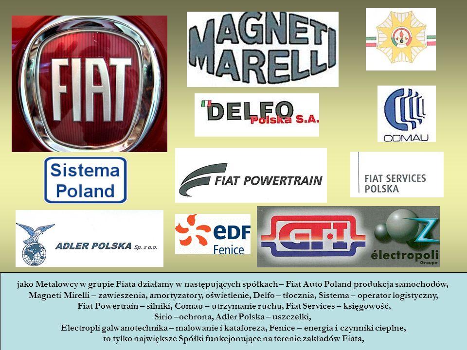 jako Metalowcy w grupie Fiata działamy w następujących spółkach – Fiat Auto Poland produkcja samochodów, Magneti Mirelli – zawieszenia, amortyzatory,