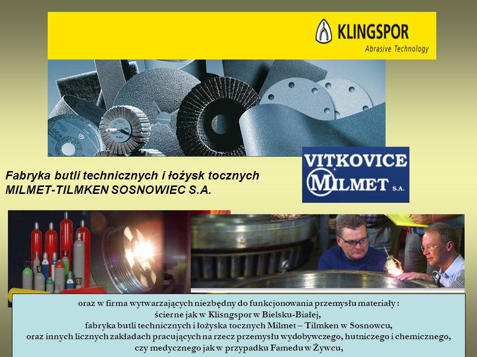 Fabryka butli technicznych i łożysk tocznych MILMET-TILMKEN SOSNOWIEC S.A. oraz w firma wytwarzających niezbędny do funkcjonowania przemysłu materiały