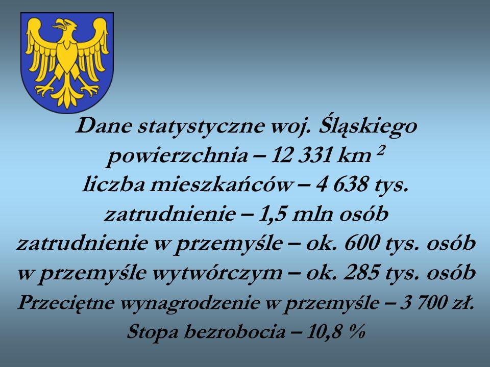Dane statystyczne woj. Śląskiego powierzchnia – 12 331 km 2 liczba mieszkańców – 4 638 tys. zatrudnienie – 1,5 mln osób zatrudnienie w przemyśle – ok.