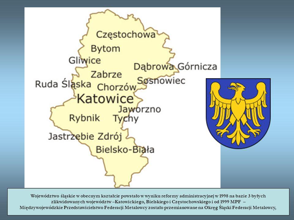 Województwo śląskie w obecnym kształcie powstało w wyniku reformy administracyjnej w 1998 na bazie 3 byłych zlikwidowanych województw –Katowickiego, B