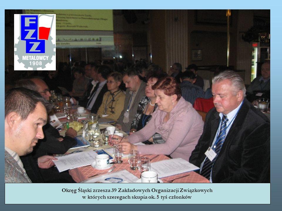 Okręg Śląski zrzesza 39 Zakładowych Organizacji Związkowych w których szeregach skupia ok. 5 tyś członków