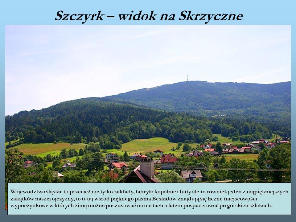 Szczyrk – widok na Skrzyczne Województwo śląskie to przecież nie tylko zakłady, fabryki kopalnie i huty ale to również jeden z najpiękniejszych zakątk