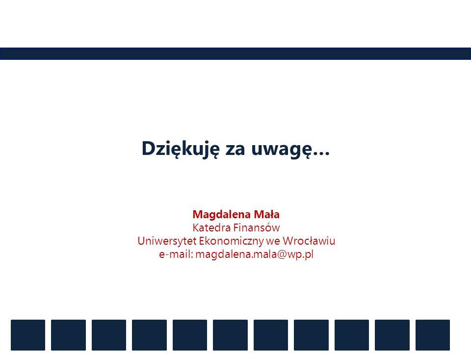 Dziękuję za uwagę… Magdalena Mała Katedra Finansów Uniwersytet Ekonomiczny we Wrocławiu e-mail: magdalena.mala@wp.pl