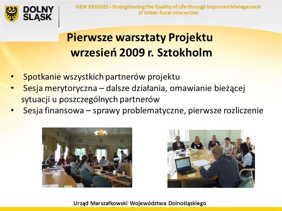 Urząd Marszałkowski Województwa Dolnośląskiego Pierwsze warsztaty Projektu wrzesień 2009 r. Sztokholm Spotkanie wszystkich partnerów projektu Sesja me