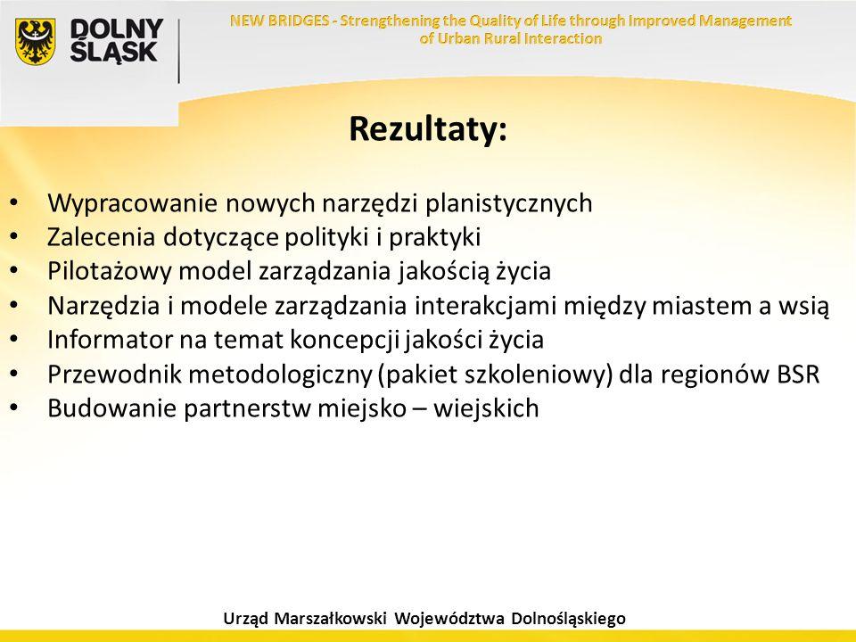 Urząd Marszałkowski Województwa Dolnośląskiego Rezultaty: Wypracowanie nowych narzędzi planistycznych Zalecenia dotyczące polityki i praktyki Pilotażo