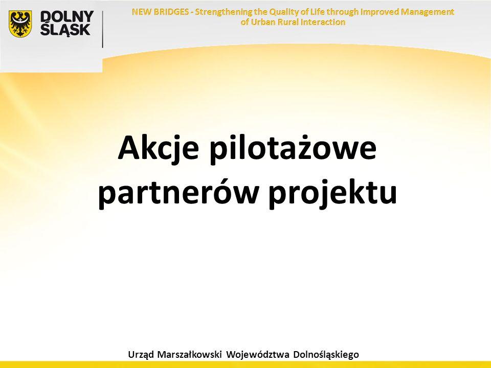 Urząd Marszałkowski Województwa Dolnośląskiego Akcje pilotażowe partnerów projektu