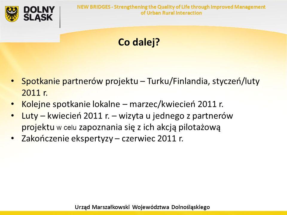 Urząd Marszałkowski Województwa Dolnośląskiego Co dalej? Spotkanie partnerów projektu – Turku/Finlandia, styczeń/luty 2011 r. Kolejne spotkanie lokaln