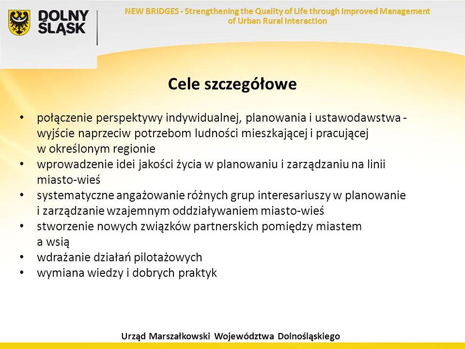 Urząd Marszałkowski Województwa Dolnośląskiego Cele szczegółowe połączenie perspektywy indywidualnej, planowania i ustawodawstwa - wyjście naprzeciw p