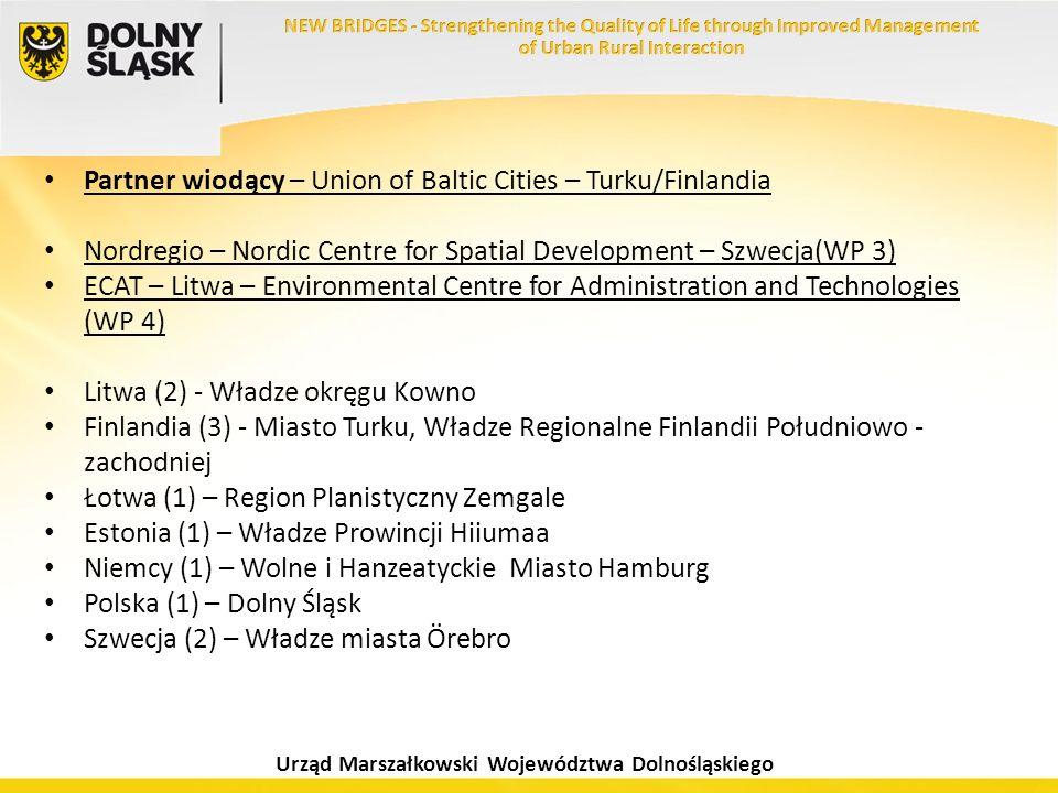 Urząd Marszałkowski Województwa Dolnośląskiego Partner wiodący – Union of Baltic Cities – Turku/Finlandia Nordregio – Nordic Centre for Spatial Develo